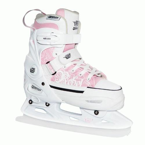 Dívčí lední brusleTempish Rebel Ice pink/růžové juniorské rostoucí zimní brusle  - VÝPRODEJ