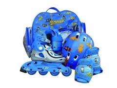 Dětské kolečkové brusle pro nejmenší + chrániče, helma, batoh, nastavitelná inline sada - VÝPRODEJ