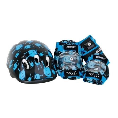 Dětské nastavitelné brusle + helma, chrániče, batoh UFO baby black černé/modré