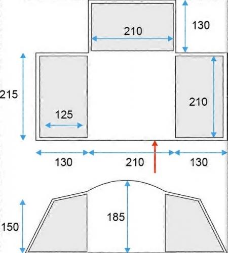 Velký rodinný stan pro 6 osob Loap Tundra 6, předsíň a 3 ložnice - AKCE