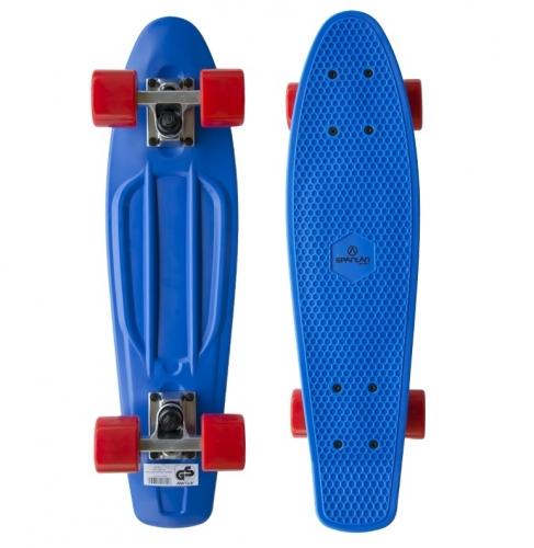 Skateboard pennyboard Spartan modrý s červenými kolečky