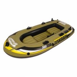 Rybářský člun Fishman pro 2-3 osoby, levné čluny nafukovací v setu pádla, pumpa, sedátka, provaz