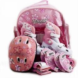 Dětské inline brusle růžové, kolečkové brusle 2v1 + batoh, helma, chrániče, nastavitelné 26-29, 30-33, 34-37