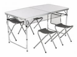 Skládací nábytek Loap, sestava Alu stůl a 4 židličky, set v kufříku